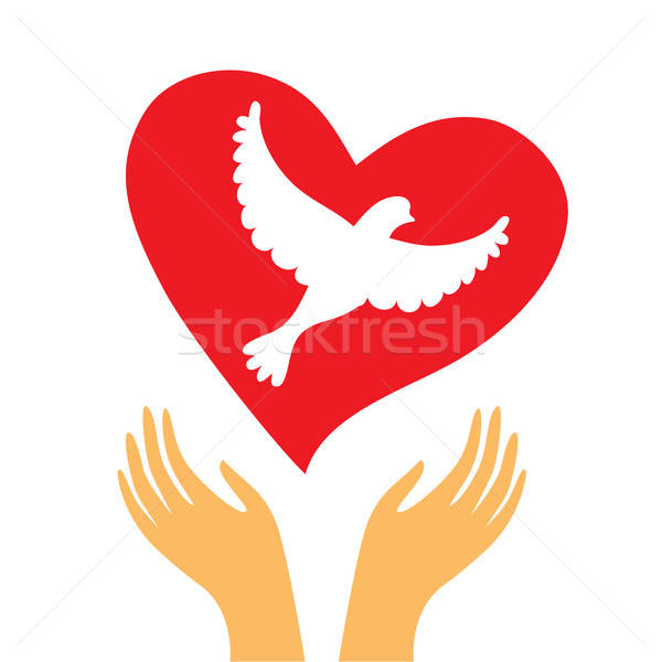 hand-heart-dove Stock photo © antoshkaforever