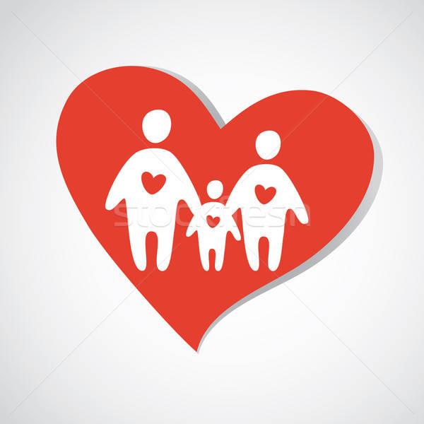семьи счастливая семья икона вектора шаблон ребенка Сток-фото © antoshkaforever