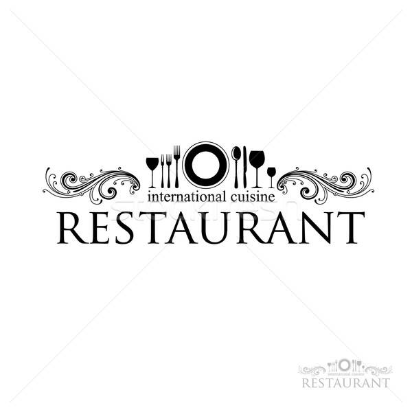 Restaurante idéia assinar internacional cozinha vetor Foto stock © antoshkaforever