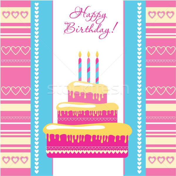 şablon tebrik kartı doğum günü kâğıt bebek çocuk Stok fotoğraf © antoshkaforever