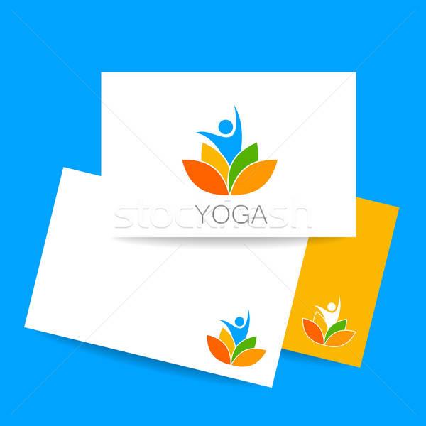 Foto stock: Ioga · logotipo · modelo · carteira · de · identidade