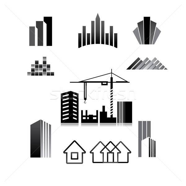 шаблон знак строительство собственности недвижимости здании Сток-фото © antoshkaforever