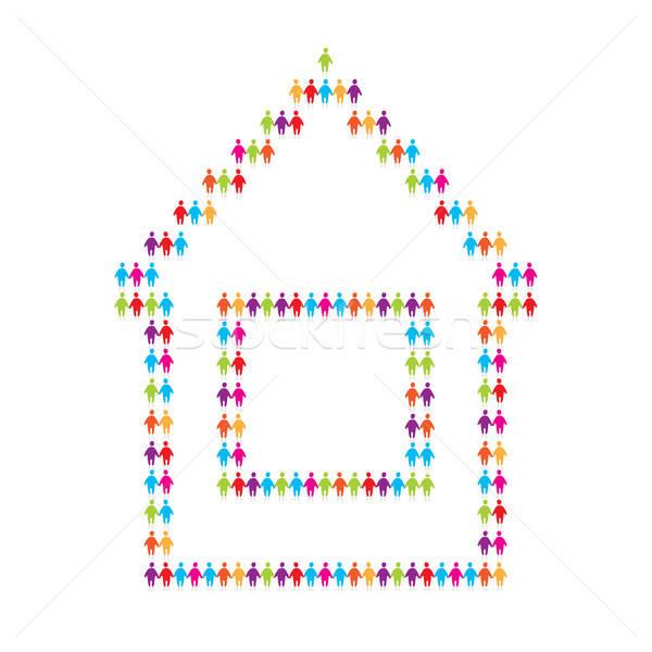 икона дома люди компьютер интернет оранжевый Сток-фото © antoshkaforever