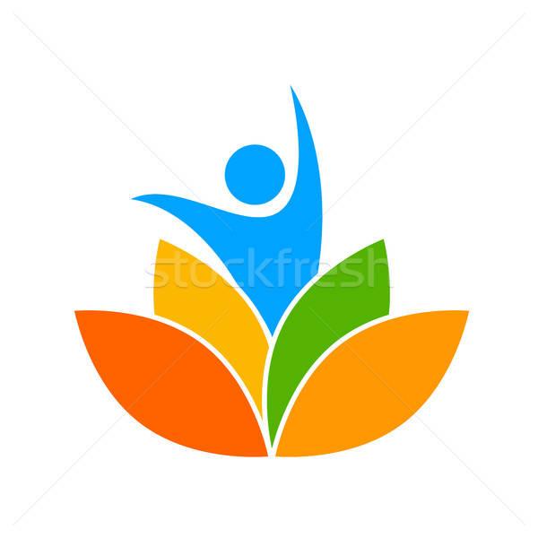 йога логотип шаблон вектора дизайн шаблона студию Сток-фото © antoshkaforever