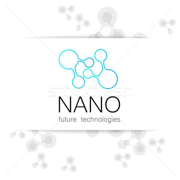 Stockfoto: Nano · logo · nanotechnologie · sjabloon · ontwerp · vector