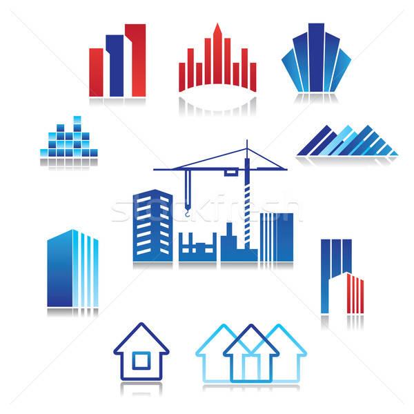 Patrón signo construcción inmobiliario edificio negocios Foto stock © antoshkaforever