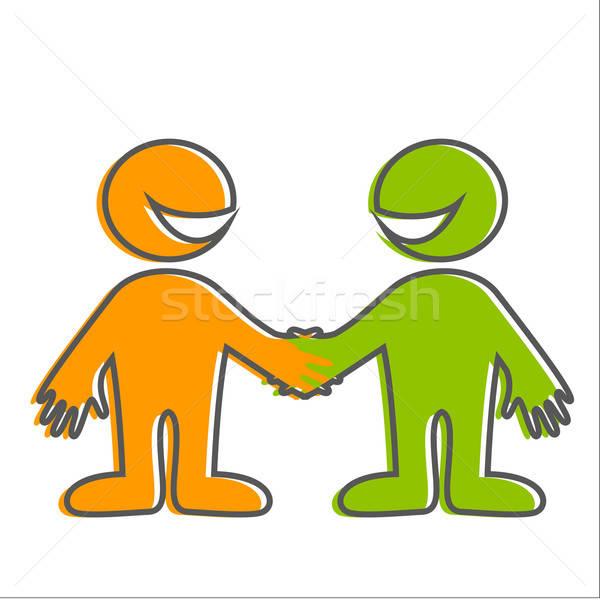 Pessoas felizes bem-vindo assinar símbolo amizade ícone Foto stock © antoshkaforever