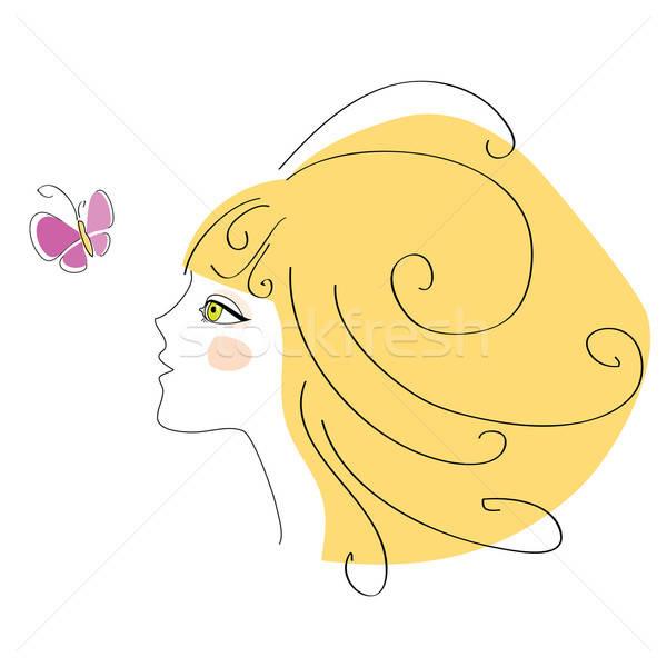 блондинка девушки бабочка лице женщины Сток-фото © antoshkaforever