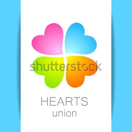 Companhia assinar coração projeto folha azul Foto stock © antoshkaforever