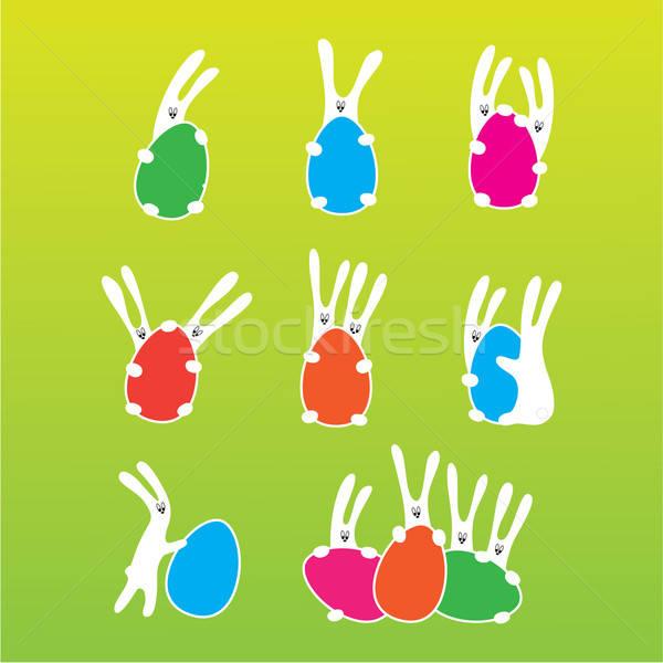 Пасху Кролики яйца дизайна яйцо Сток-фото © antoshkaforever
