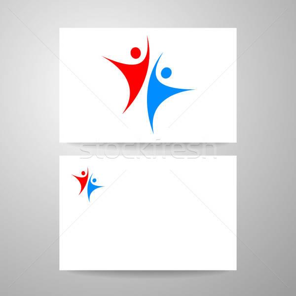 Succès équipe modèle logo carte de visite design Photo stock © antoshkaforever