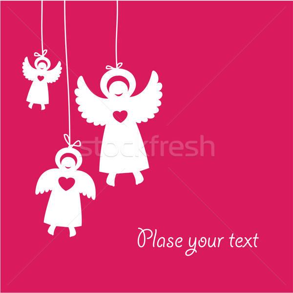 Kartları melekler kalp çocuk çerçeve güzellik Stok fotoğraf © antoshkaforever