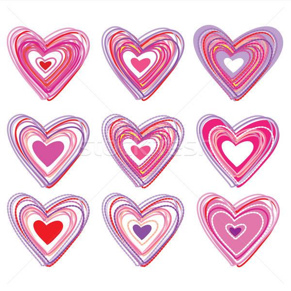 Szett szívek terv művészet csoport piros Stock fotó © antoshkaforever