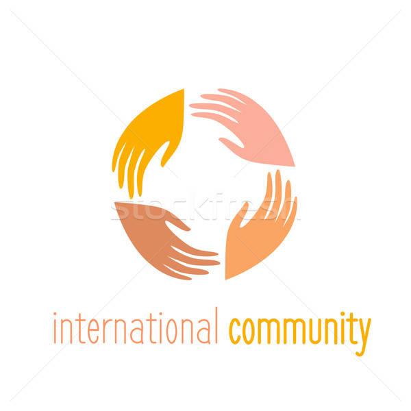 Internacional comunidad logo plantilla personas contactar Foto stock © antoshkaforever