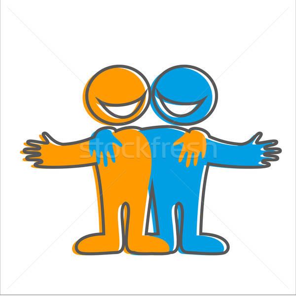счастливые люди приветствую знак символ дружбы икона Сток-фото © antoshkaforever