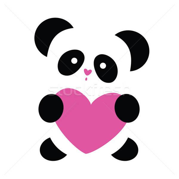 Szeretet panda szív fehér fekete medve Stock fotó © antoshkaforever