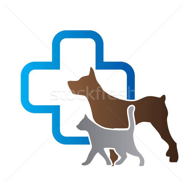 ветеринарный знак кошки крест медицина синий Сток-фото © antoshkaforever