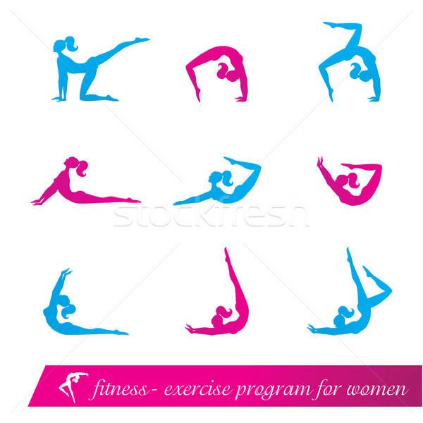 фитнес осуществлять программа женщины спортивных цвета Сток-фото © antoshkaforever