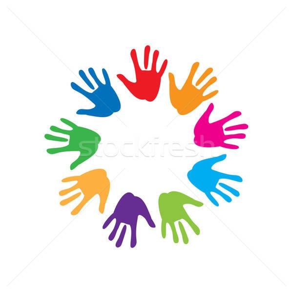 Signo paz amistad colorido palma mano Foto stock © antoshkaforever
