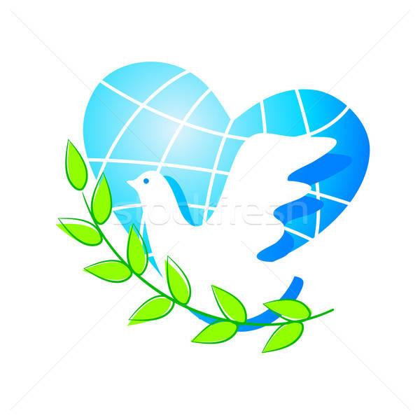 Paz paloma símbolo mundo hoja belleza Foto stock © antoshkaforever