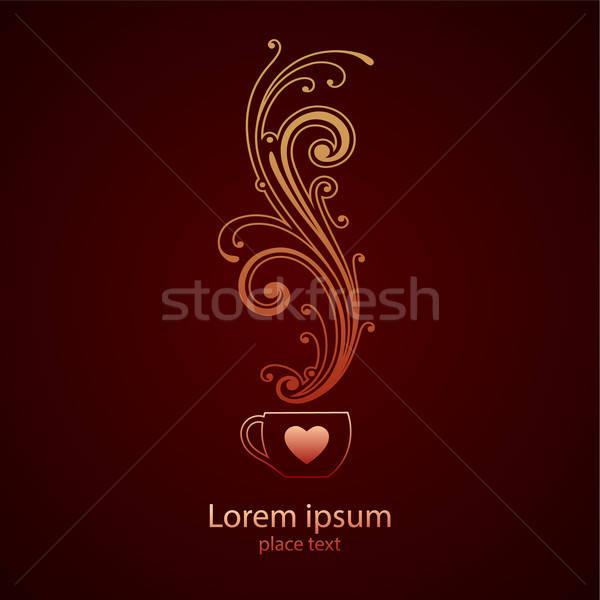 кофе логотип дизайн шаблона любви дизайна дым Сток-фото © antoshkaforever