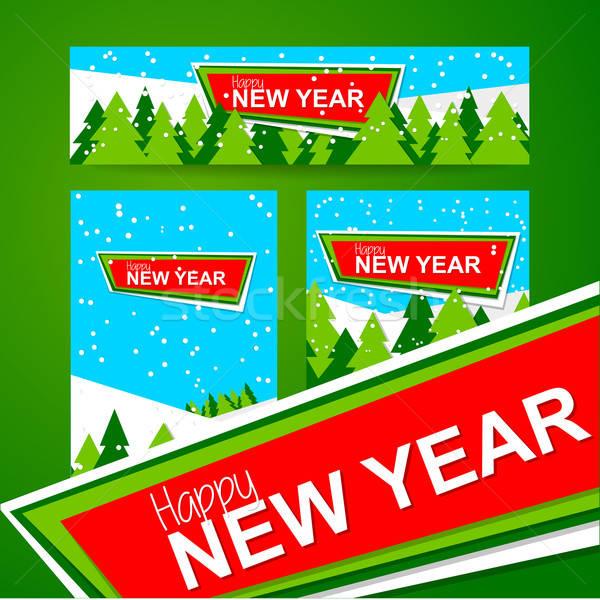新年好 旗幟 新年 設計模板 向量 森林 商業照片 © antoshkaforever