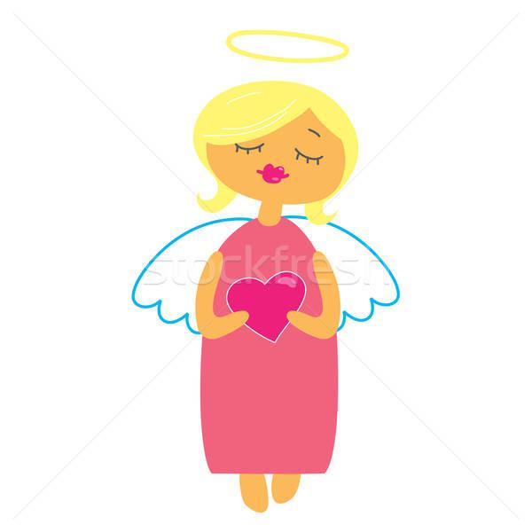 符號 情人節 天使 心臟 孩子 畫 商業照片 © antoshkaforever