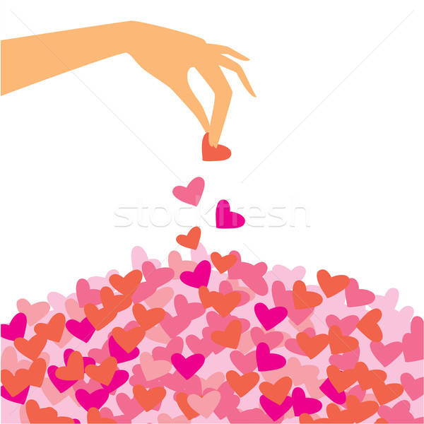 Sablon gratulálok szerelmespár kéz szirmok nők Stock fotó © antoshkaforever