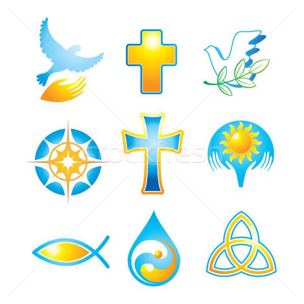 Coleção religioso ícones símbolos abstrato atravessar Foto stock © antoshkaforever