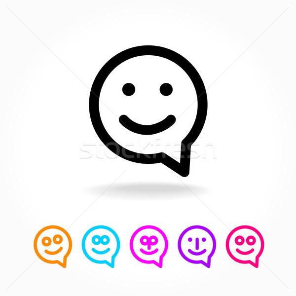 Feliz sorrir balão de fala cara conversar ícone Foto stock © antoshkaforever
