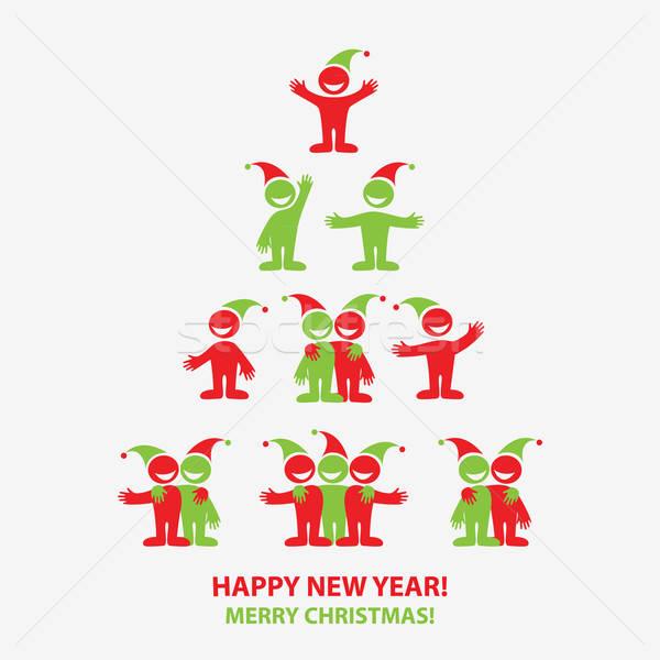 Сток-фото: веселый · Рождества · иконки · Новый · год · вектора