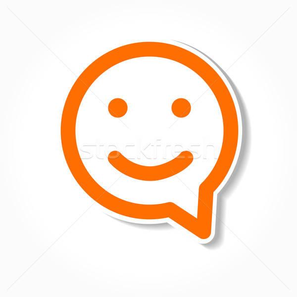 счастливым улыбка речи пузырь лице чате икона Сток-фото © antoshkaforever