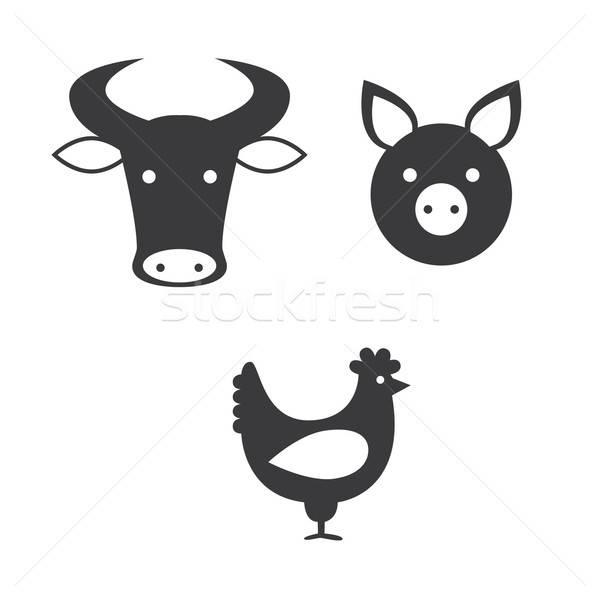 Сток-фото: набор · иконки · различный · продовольствие · знак · птица