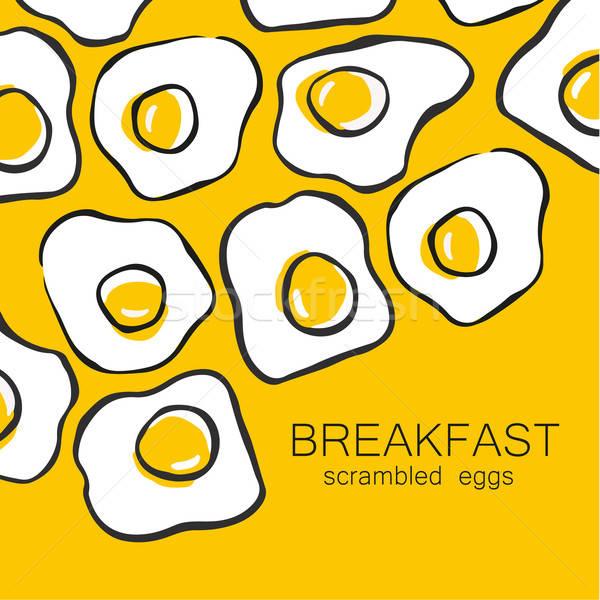 завтрак жареный шаблон дизайна шаблон Сток-фото © antoshkaforever