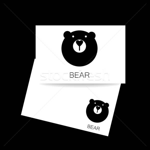 Ayı hayvan şablon logo kimlik kartı maskot Stok fotoğraf © antoshkaforever