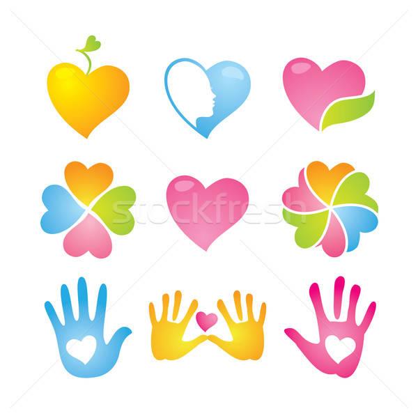 Ikon gyűjtemény szeretet béke kéz terv levél Stock fotó © antoshkaforever