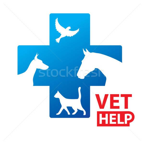 знак ветеринарный рельеф услугами собака кошки Сток-фото © antoshkaforever