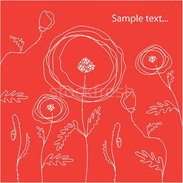 Sjabloon gefeliciteerd klaprozen Rood abstract achtergrond Stockfoto © antoshkaforever
