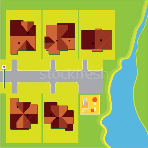 вектора карта плана стране дома дерево Сток-фото © antoshkaforever