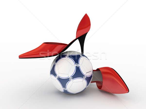 Dos rojo zapatos mujeres balón de fútbol fútbol Foto stock © anyunoff