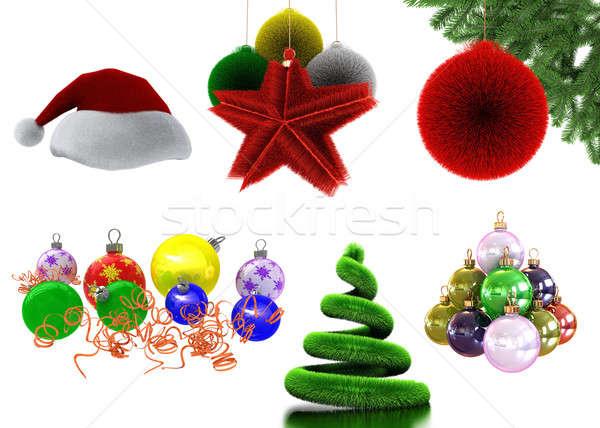 Nuevos año establecer aislado blanco rojo Foto stock © anyunoff