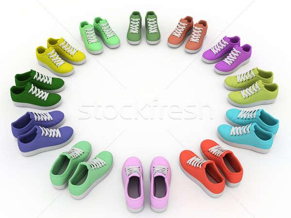 Sport scarpe sport cerchio bianco esecuzione Foto d'archivio © anyunoff