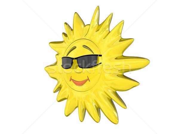 Karikatür güneş gözlük yalıtılmış beyaz sarı Stok fotoğraf © anyunoff
