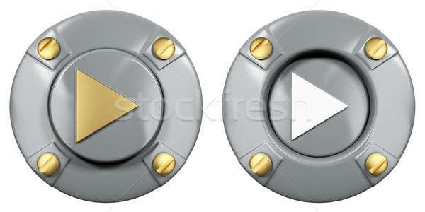 Los medios de comunicación icono estilizado metal botón música Foto stock © anyunoff