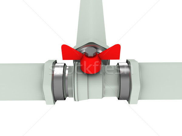 Gas tubería válvula aislado blanco fábrica Foto stock © anyunoff