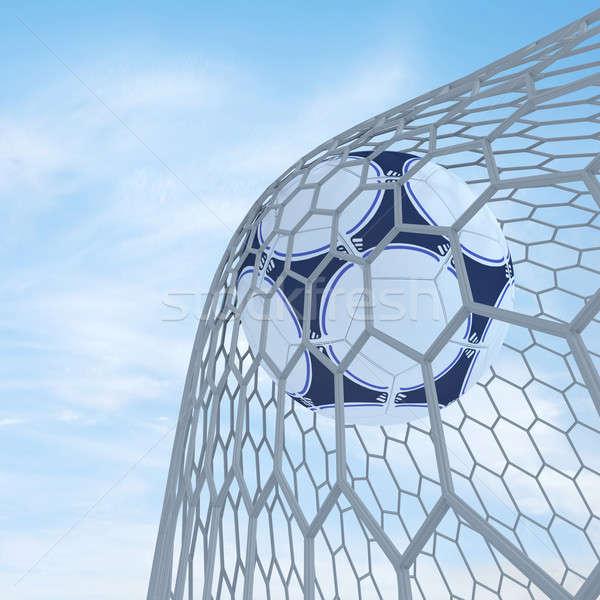 Futbol futbol 3d render mavi gökyüzü spor top Stok fotoğraf © anyunoff
