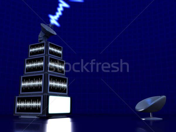 Piramide tv satellite piatto tecnologia film Foto d'archivio © anyunoff