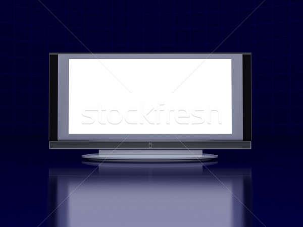 Сток-фото: телевизор · экране · полу · темно · синий · футуристический