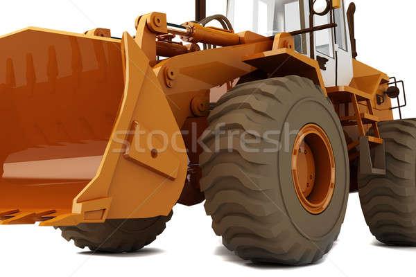 Buldozer portocaliu roti izolat alb mobil Imagine de stoc © anyunoff