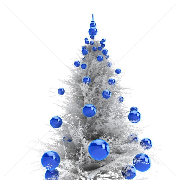 Noel ağacı ışık gri mavi kış Stok fotoğraf © anyunoff